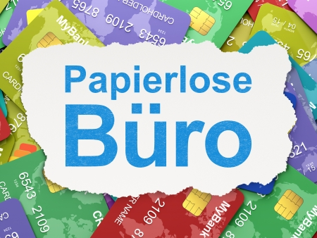 Business concept: torn paper with words Papierlose Buro(german) on Credit Card background, 3d render photo