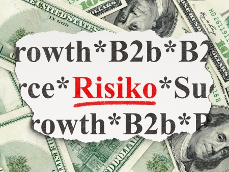 risiko: Business concept: torn newspaper with words Risiko(german) on Money background, 3d render