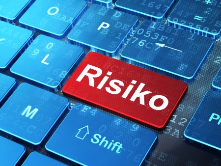 risiko: Finance concept: computer keyboard with word Risiko(german) on enter button background, 3d render