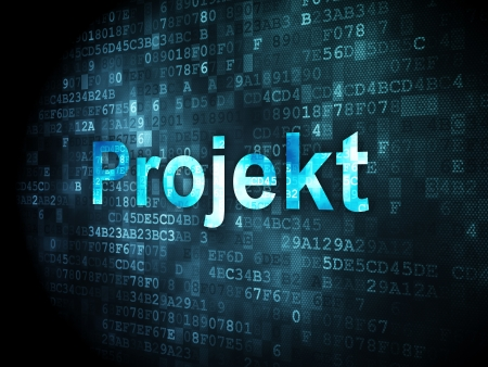 projekt: Finance concept: pixelated words Projekt(german) on digital background, 3d render Stock Photo