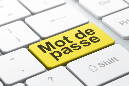 mot: Safety concept: computer keyboard with word Mot de Passe(french), selected focus on enter button background, 3d render