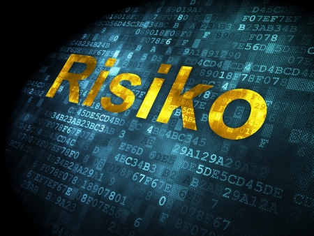 risiko: Business concept: pixelated words Risiko(german) on digital background, 3d render