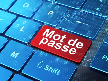mot: Security concept: computer keyboard with word Mot de Passe(french) on enter button background, 3d render