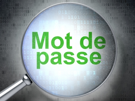 mot: Magnifying optical glass with words Mot de Passe(french) on digital background, 3d render