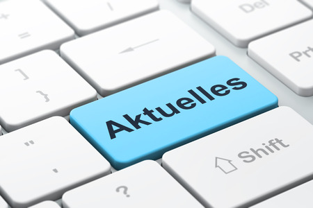 News concept: computer keyboard with word Aktuelles(german), selected focus on enter button background, 3d render photo