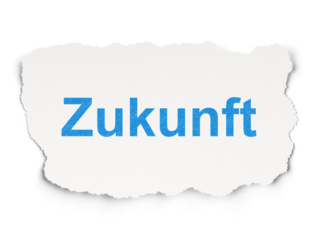 yearbook: Time concept: torn paper with words Zukunft(german) on Paper background, 3d render