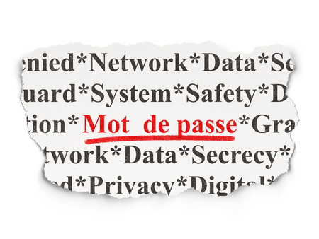 mot: Privacy concept: torn newspaper with words Mot de Passe(french) on Paper background, 3d render
