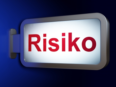risiko: Finance concept: Risiko(german) on advertising billboard background, 3d render Stock Photo