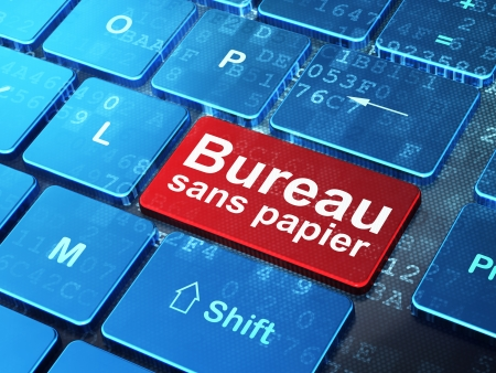 sans: Finance concept: computer keyboard with word Bureau Sans papier(french) on enter button background, 3d render