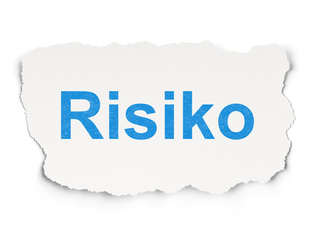 risiko: Finance concept: torn paper with words Risiko(german) on Paper background, 3d render Stock Photo