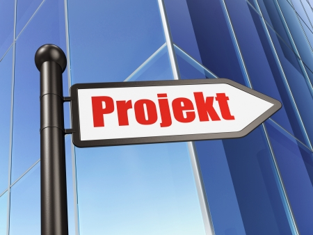 projekt: Finance concept: Projekt(german) on Building background, 3d render