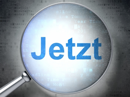 Magnifying optical glass with words Jetzt(german) on digital background, 3d render