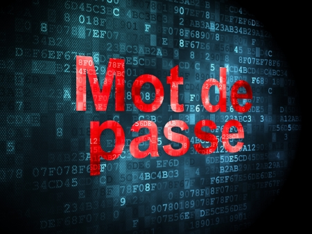 mot: Protection concept: pixelated words Mot de Passe(french) on digital background, 3d render