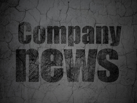 News concept: Black Company News on grunge textured concrete wall background, 3d render photo