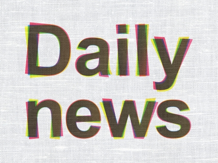 News concept: CMYK Daily News on linen fabric texture background, 3d render photo