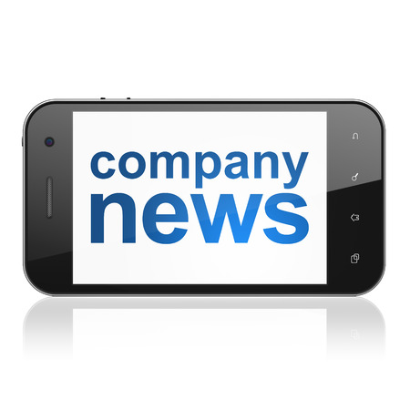 News concept: smartphone with text Company News on display. Mobile smart phone on White background, cell phone 3d render photo