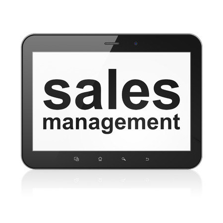 Advertising concept: black tablet pc computer with text Sales Management on display. Modern portable touch pad on White background, 3d render photo