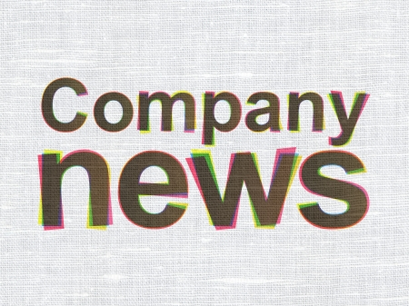 News concept: CMYK Company News on linen fabric texture background, 3d render photo