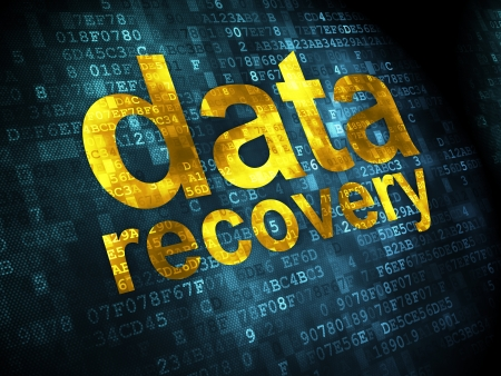 data recovery: Data concept: pixelated words Data Recovery on digital background, 3d render