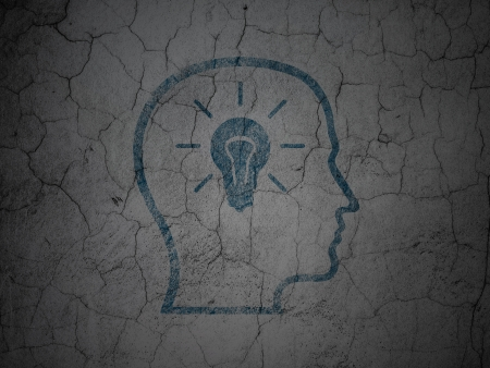 Marketing concept: Blue Head With Lightbulb on grunge textured concrete wall background, 3d render photo