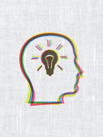 Finance concept: CMYK Head With Lightbulb on linen fabric texture background, 3d render photo