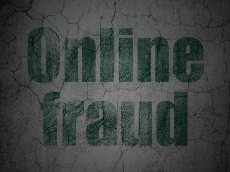 Protection concept: Green Online Fraud on grunge textured concrete wall background, 3d render photo