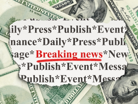 News concept: torn newspaper with words Breaking News on Money background, 3d render photo