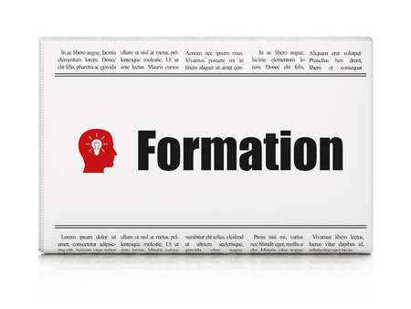 Education news concept: newspaper headline Formation and Head With Light Bulb icon on White background, 3d render photo