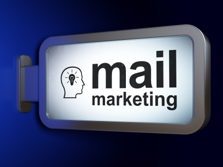 Advertising concept: Mail Marketing and Head With Lightbulb on advertising billboard background, 3d render photo