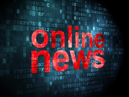 Concepto de las noticias: las palabras pixelados News Online en el fondo digital, 3d