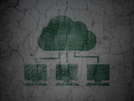 Cloud technology concept: Green Cloud Network on grunge textured concrete wall background, 3d render photo