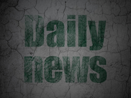 News concept: Green Daily News on grunge textured concrete wall background, 3d render photo