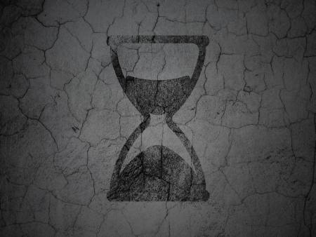 Time concept: Black Hourglass on grunge textured concrete wall background, 3d render photo