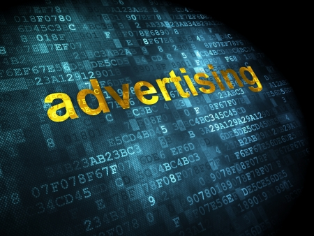 Advertising concept: pixelated words Advertising on digital background, 3d render photo