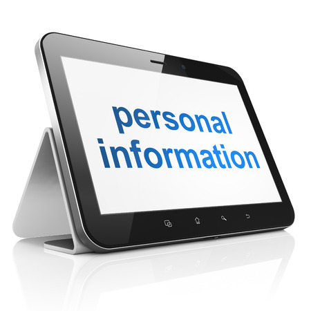 Protection concept: black tablet pc computer with text Personal Information on display. Modern portable touch pad on White background, 3d render photo