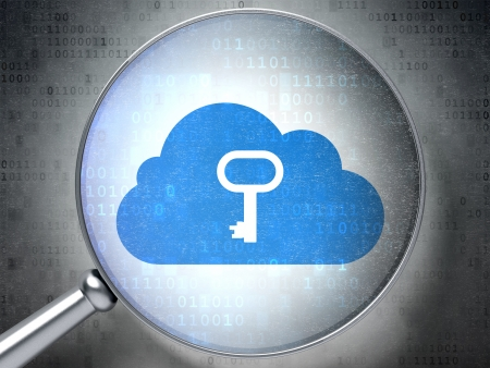 Magnifying optical glass with Cloud With Key icon on digital background, 3d render photo