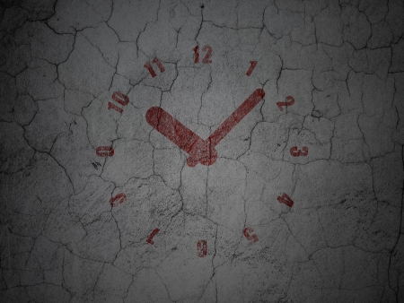Time concept: Red Clock on grunge textured concrete wall background, 3d render photo