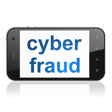 Safety concept: smartphone with text Cyber Fraud on display. Mobile smart phone on White background, cell phone 3d render photo