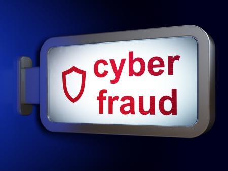 contoured: Concepto de protecci�n: Fraude Cibern�tico y escudo contorneado en vallas publicitarias fondo, 3d
