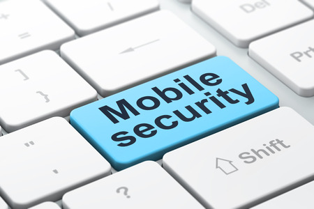 Safety concept: computer keyboard with word Mobile Security, selected focus on enter button background, 3d render Stock Photo - 22956970