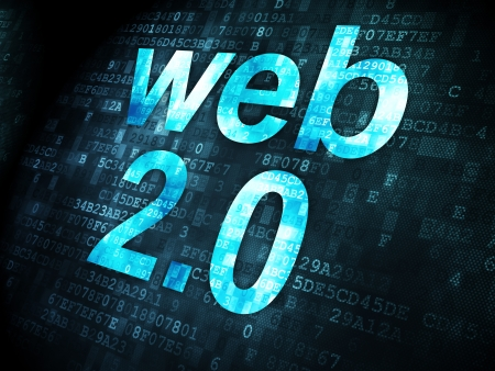 web 2 0: SEO web development concept: pixelated words Web 2.0 on digital background, 3d render
