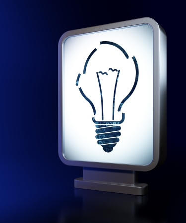 buisnes: Business concept: Light Bulb on advertising billboard background, 3d render
