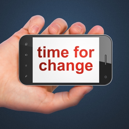 Timeline concept: hand holding smartphone with word Time for Change on display. Mobile smart phone in hand on Blue background, 3d render photo