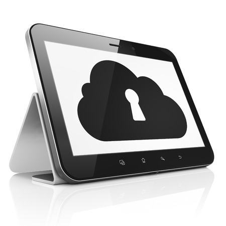 Cloud networking concept: black tablet pc computer with Cloud With Keyhole icon on display. Modern portable touch pad on White background, 3d render photo