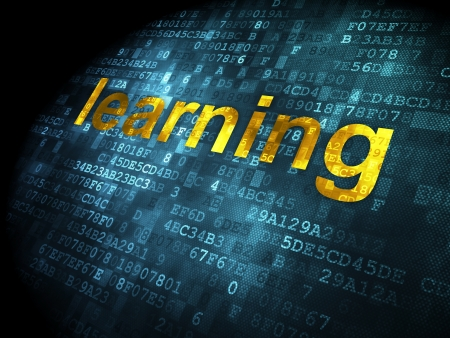 Education concept: pixelated words Learning on digital background, 3d render photo