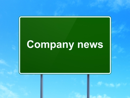 News concept: Company News on green road (highway) sign, clear blue sky background, 3d render photo