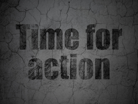 Timeline concept: Black Time for Action on grunge textured concrete wall background, 3d render photo