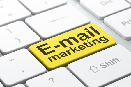 Marketing concept: computer keyboard with word E-mail Marketing, selected focus on enter button background, 3d render photo