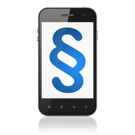 Law concept: smartphone with Paragraph icon on display. Mobile smart phone on White background, cell phone 3d render photo