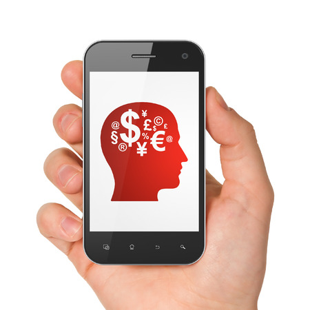 Education concept: hand holding smartphone with Head With Finance Symbol on display. Mobile smart phone on White background, 3d render photo